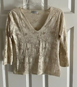 FITIGUES-V-Neck-Boho-3-4-Sleeve-Crochet-Top-Cream-Beige-Women-039-s-Medium-M