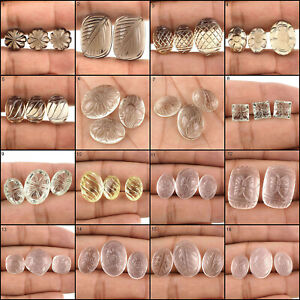 Natural-Quartz-AAA-Super-Quality-3-Pcs-Set-Carved-Gems-Many-Shapes-amp-Sizes