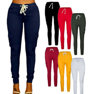 US-Pencil-Jeans-Women-Lady-Stretch-Casual-Denim-Skinny-Pants-High-Waist-Trousers