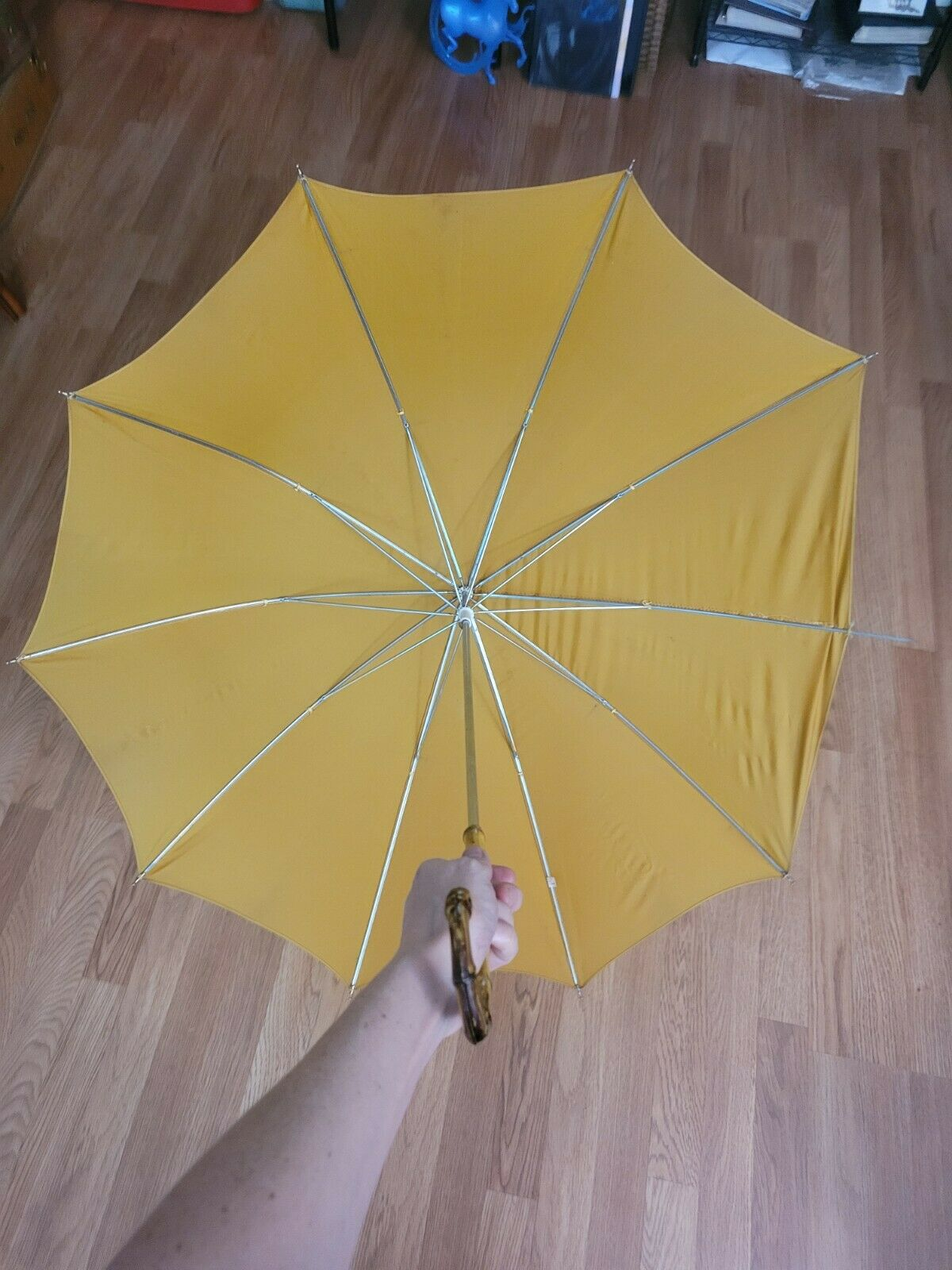 vtg 1960s 70s ? yellow mustard faux Bamboo Handle… - image 2