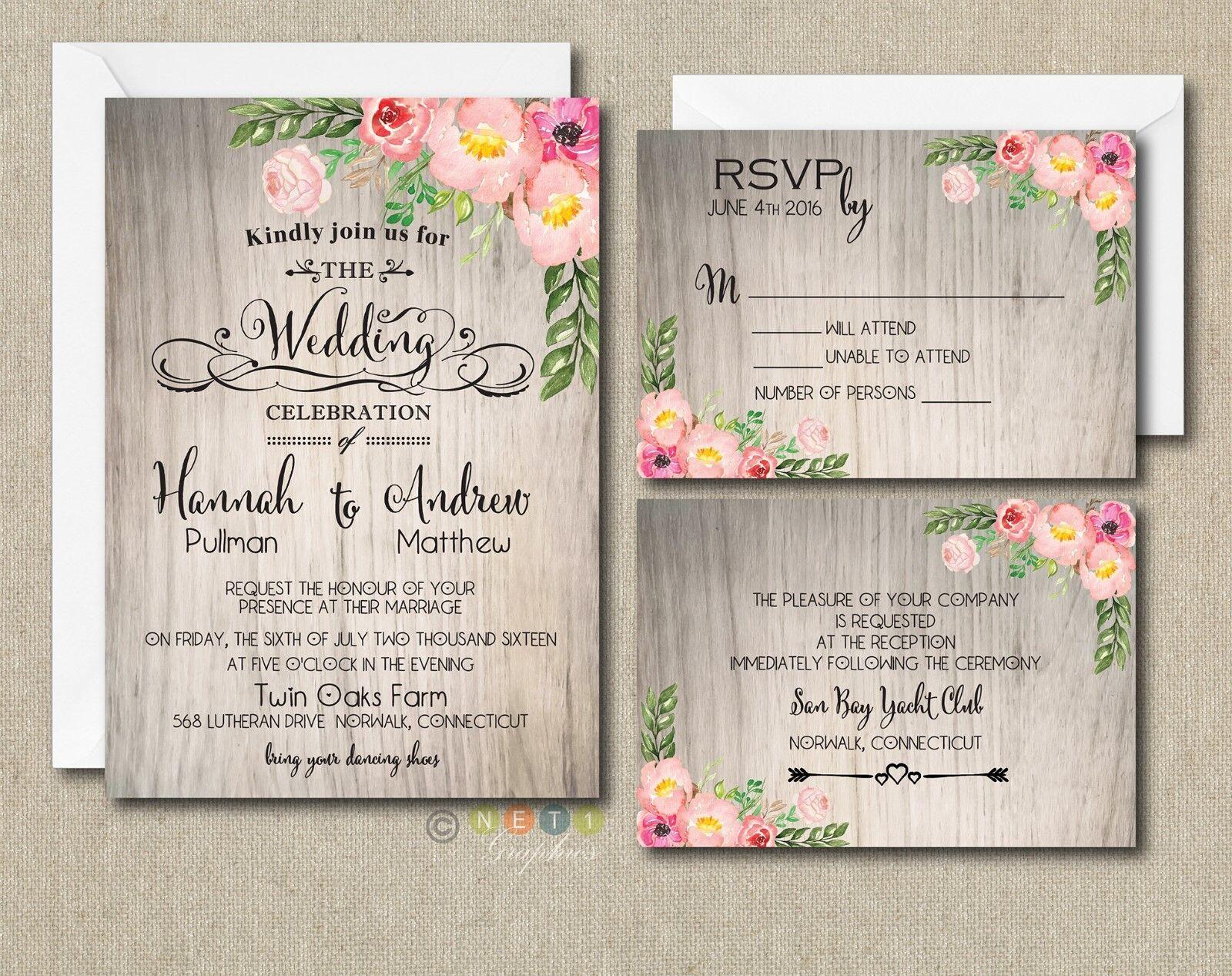100 Personnalisé Aquarelle rustique Floral Botanical mariage invitation suite