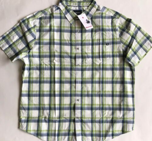 $60 NWT Mens Marmot 900858 Ellis Peak Short Sleeve Plaid Button Down Shirt