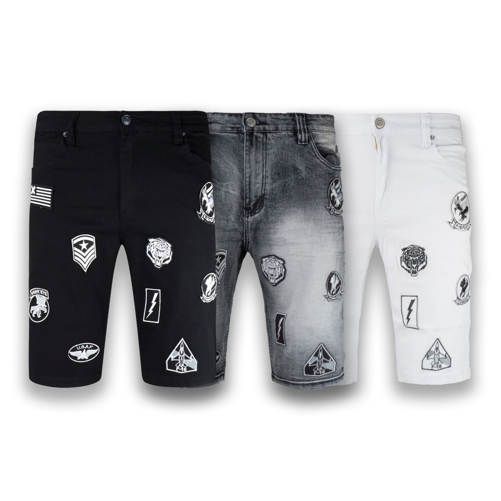 NEW Men Denim Shorts With Patches Aviator Jean Short Sizes 30-42 USA Patch
