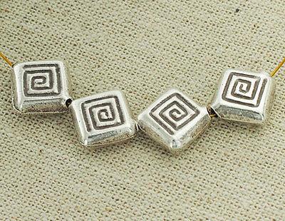 Karen Hill Tribe Silver 4 Imprint Square Beads 10.5mm.