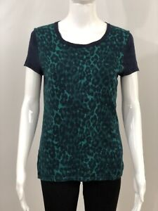 Ann-Taylor-Women-s-Top-Knit-Size-M-Short-Sleeve-Scoop-Neck-Animal-Print-Navy
