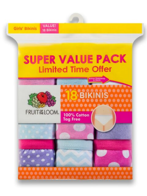 9b626d1156d2 Fruit of the Loom Girl's Bikinis Underwear Size 4 Tag Free 18 Pack NEW