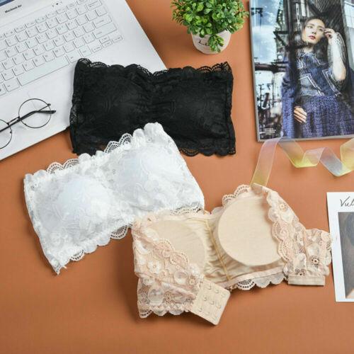 Women Ladies Strapless Lace Seamless Bandeau Bra Boob Tube Comfort Top Underwear