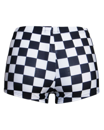 Classic Monochrome Chess Checkerboard Squares Printed Hot Pants Shorts