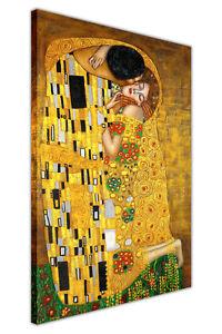 GUSTAV KLIMT KISS 2  PAINT  RE PRINT ON FRAMED CANVAS WALL ART HOME DECORATION