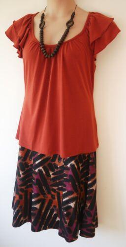 Jupe femme top perles ensemble 3 pièces taille 10 12 14 16 neuf femme rouge marron imprimé