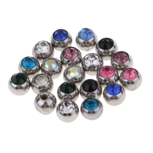 Prettyia 20x Crystal Replacement Balls Stainless Steel Jewelry Piercing Ball