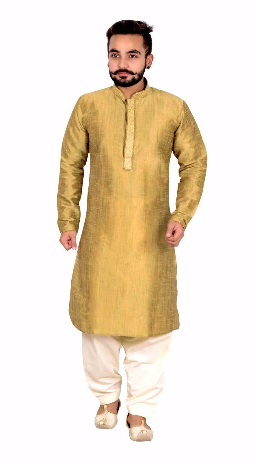 Men's silk gold Kurta Cream Shalwar Kameez pyjama wedding apparel Sherwani 808