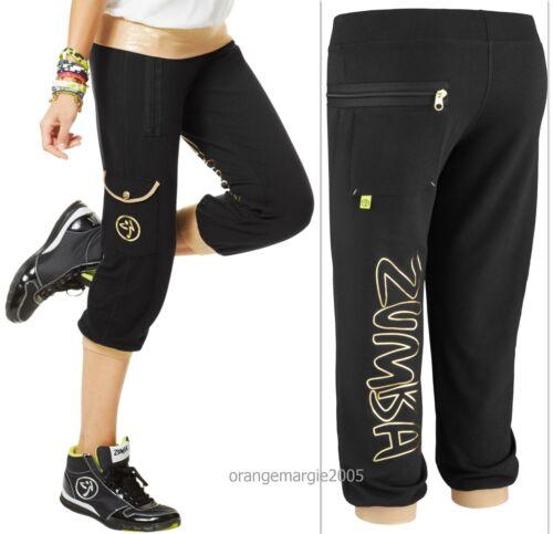 RARE~Comfy~Sweats HipHop Yoga,Crossfit,etc S M ZUMBA Galatic w Gold CAPRI Dance