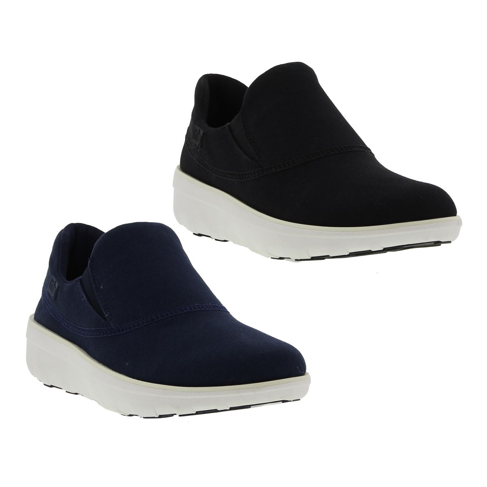 Zapatos promocionales para hombres y mujeres Fitflop Loaff Sporty Slip On Sneakers Womens Black Blue Canvas Trainers Size 4-8