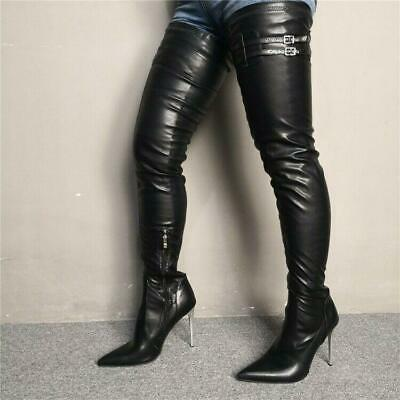 Details about  /35//42 Women/'s High Heels Faux Leather Pointy Toe Over Knee Thigh High Boots L