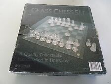 Chess Set Handcrafted In Clear And Frosted Glass W/ Board New In Box