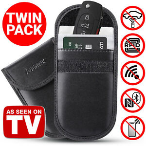 2X-Anti-Theft-Keyless-Entry-Car-Key-Fob-Case-RFID-Signal-Blocking-Faraday-Bag