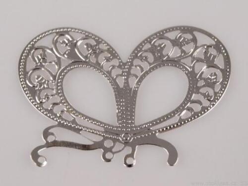 4 Stück Aufnäher Applikation Schmetterling  33x45 mm silber NEUWARE