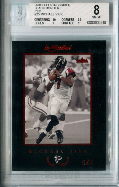2004 Inscribed Black Border Red MICHAEL VICK Rare Atlanta Falcons SP   5  BGS 8 6b8785f06