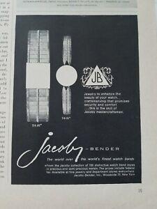 1962-Jacobs-Bender-Vintage-Reloj-de-Pulsera-Reloj-Banda-Vintage-Joyeria-Anuncio