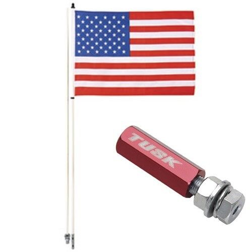 6/' Flag Pole w// American Flag Tusk Quick Release 1//4/' Red Flag Pole Holder