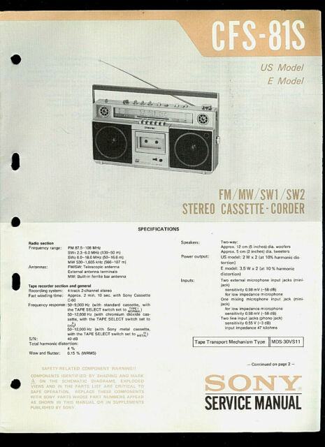 Sony Cfs 2 Radio Cassette