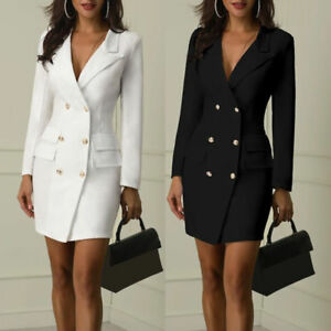 Details about Women Short Bodycon Lapel Blazer Double Breasted Long Sleeve V neck Work Dress