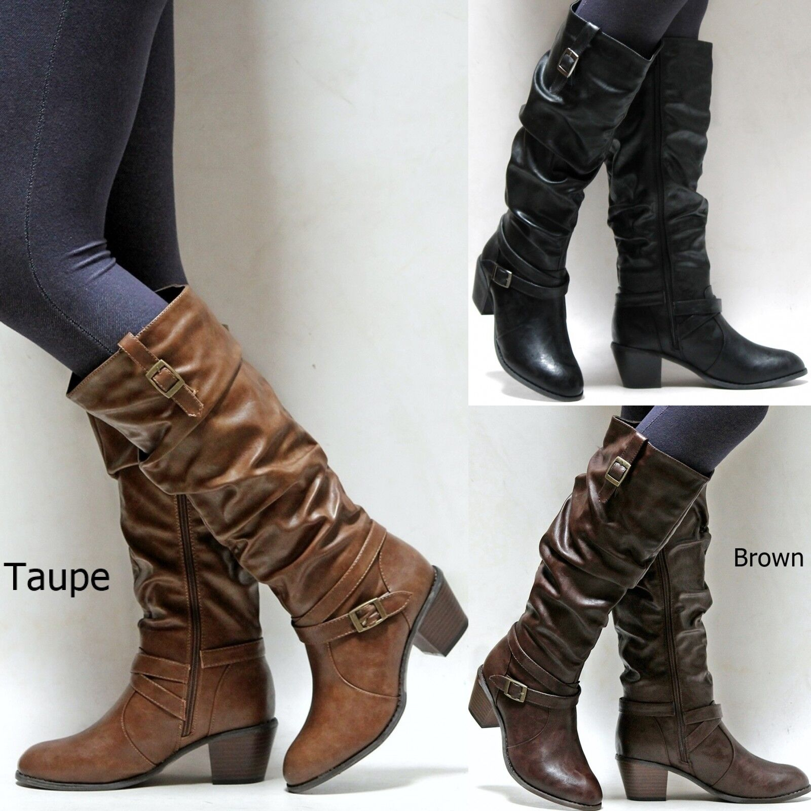 New Women ASg1 Black Tan Brown Taupe Knee High Western Low Heel Riding Boots