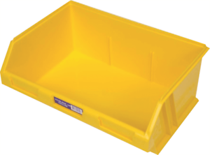 Fischer STOR-PAK-120 PLASTIC STORAGE BIN 410x275x165mm 12L Angled Front YELLOW