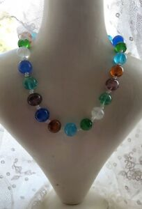 1980s-Glass-Necklace-Vintage-Retro-Choker-Style-15inch-Colourful-Jewelry-Beaded