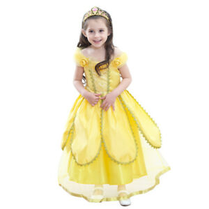 d87df9d93a8 Details about 2018 Summer Kids Girls Cartoon Beauty And The Beast Belle  Princess Yellow Dress