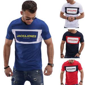 Jack-amp-Jones-T-Shirt-Hommes-Print-Shirt-Manches-Courtes-Shirt-Short-Manche-Casual-Modern