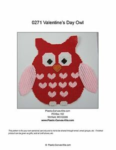 Valentine S Day Owl Wall Hanging Plastic Canvas Pattern Or Kit Ebay