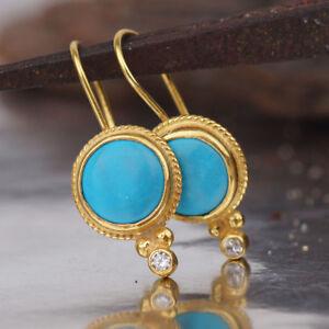 Image Is Loading Handmade Turkish Designer Turquoise Earrings 24k Gold Over