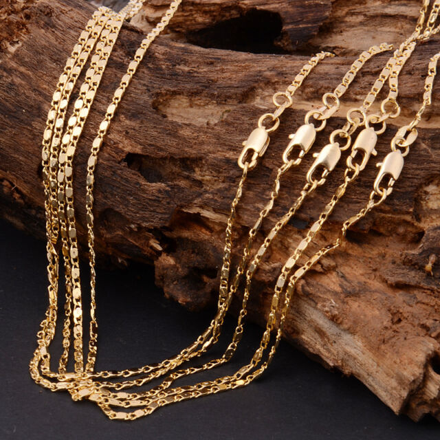 1Pcs Fashion 18K Yellow GOLD filled Rolo CHAIN NECKLACE