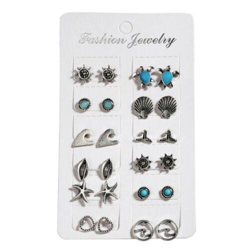 12 Pairs Mixed Turtle Starfish Shell Small Stud Earrings Set Women Boho Jewelry