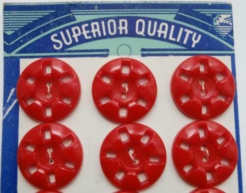 BNWOT Vintage 1930/'s Deco Card of 12 Red Bakelite Flower Buttons  Deadstock