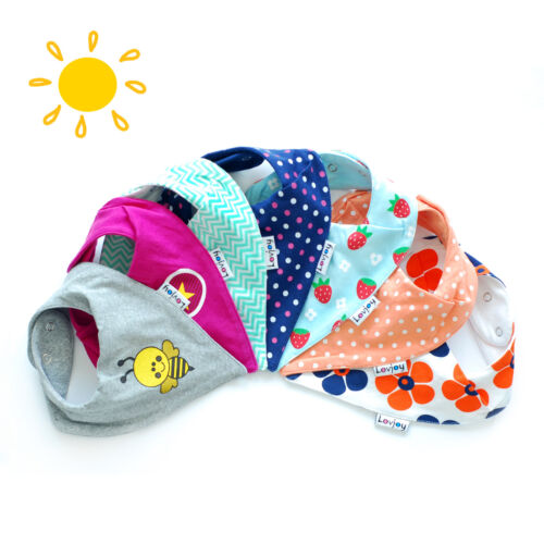 GIRLS DESIGNS 7 SUMMER 100/% COTTON BANDANA BABY BIBS FROM LOVJOY