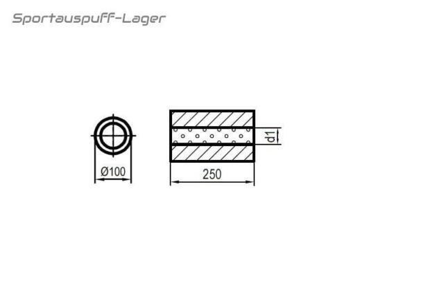 Univers Schalldämpfer Edelstahl RUND 100mm 1-Rohr  L 420mm In//Out 63,5//63,5mm