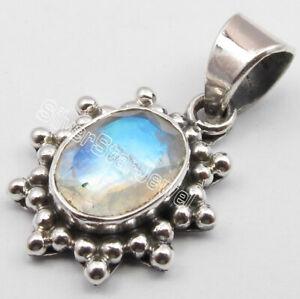 925-Sterling-Silver-Oval-Rainbow-Moonstone-Pendant-Gemstone-New-Jewelry