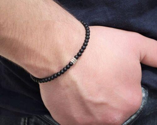 FAMA Matte Black Onyx Stretch Bracelet with Stainless Steel Hexagon Beads
