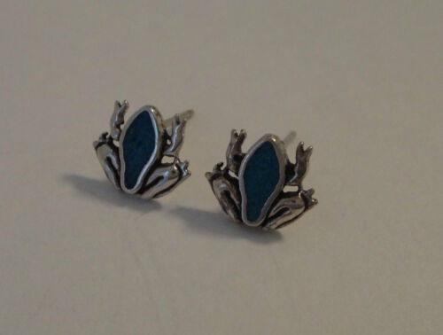 Sterling Silver TINY 8x10mm Turquoise chip Blue Frog Toad Studs Stud Earrings