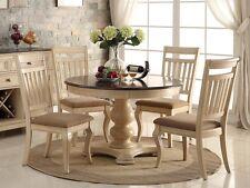 ROWAN 5PC ANTIQUE WHITE WASH CHERRY FINISH WOOD ROUND PEDESTAL DINING TABLE SET