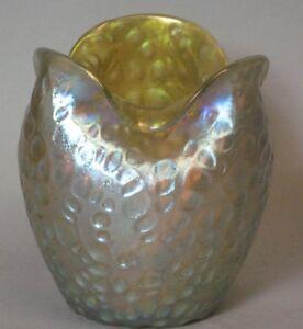 Loetz-Diaspora-Bohemian-Art-Glass-Vase-c-1905-Iridized-Rose-Bowl-Form