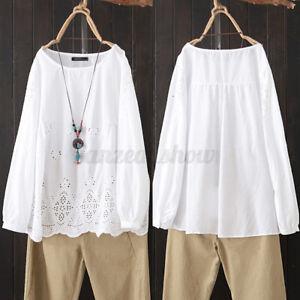 Mode-Femme-Haut-Shirt-Loisir-Simple-Manche-Longue-Broderie-Col-Rond-Creux-Plus