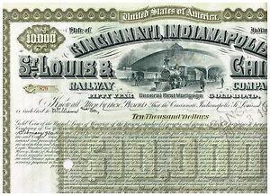 Cincinnati-Indianapolis-St-Louis-amp-Chicago-Rwy-1930-10-000-Bond