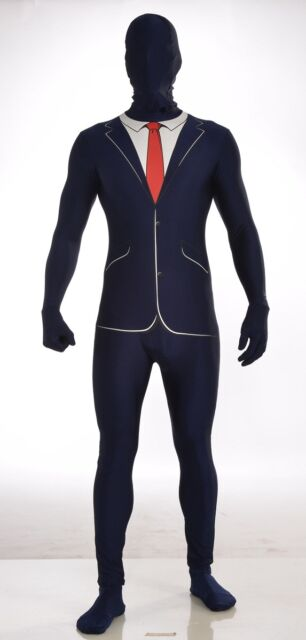 Business Suit Blue Disappearing Man Adult Wall Street Costume Morph Jumpsuit XL