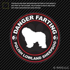 Danger Farting Polish Lowland Sheepdog Decal Self Adhesive Vinyl dog canine pet
