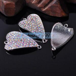 5pcs 42X26mm Big Heart Crystal Rhinestones Alloy Silver AB Connectors Charms