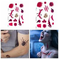 2x Halloween Terror Wound Realistic Blood Injury Scar Fake Tattoo Sticker EW